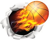 Flaming Basketball Ball Tearing a Hole in the Background