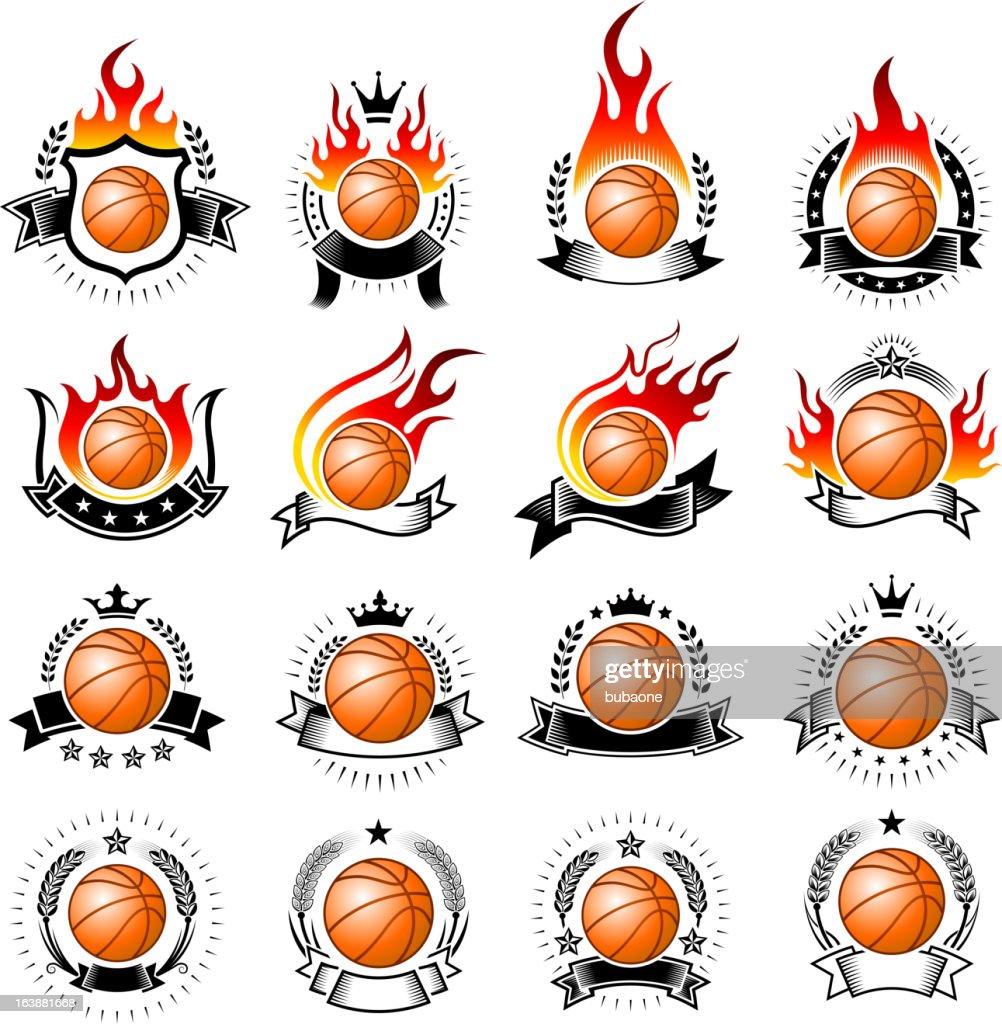 Flaming Basketball on Badges Set
