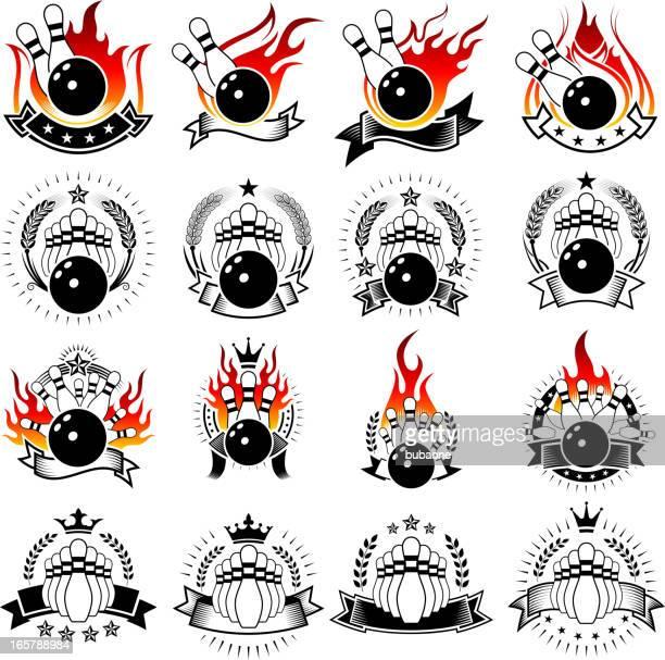 flaming bowling and pins on badges set - bowling stock illustrations, clip art, cartoons, & icons