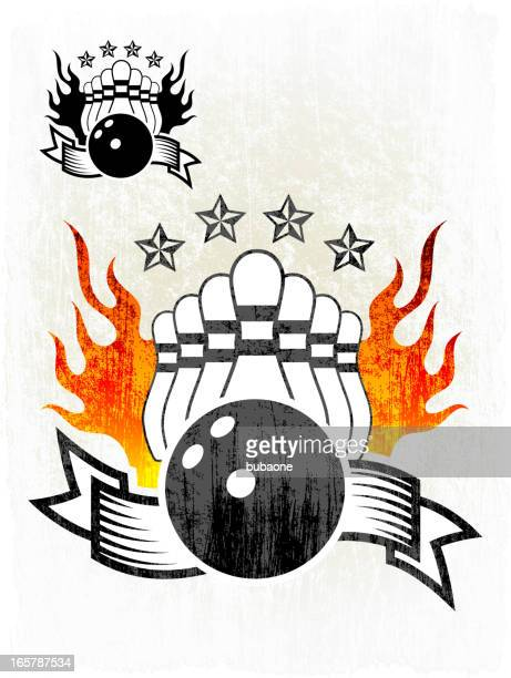 flaming bowling ball and pins on grunge badges with banners - bowling ball stock illustrations, clip art, cartoons, & icons