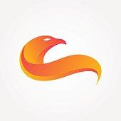 Flaming eagle, stylized eagle bird logo
