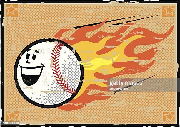 ilustraciones, imágenes clip art, dibujos animados e iconos de stock de flaming grunge de béisbol - llamas de fuego