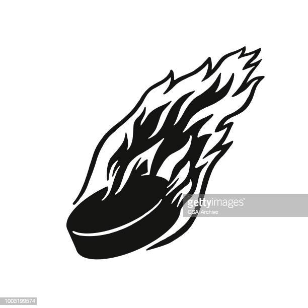 flaming hockey puck - hockey stock illustrations, clip art, cartoons, & icons