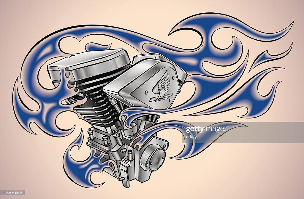 Flaming motor tattoo