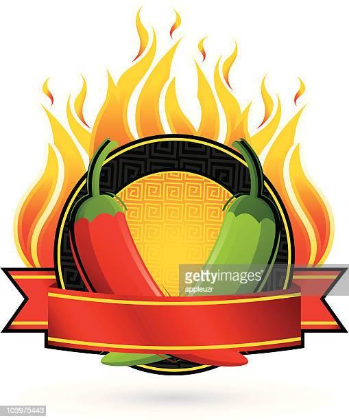 flaming pepper frame - green chili pepper stock illustrations