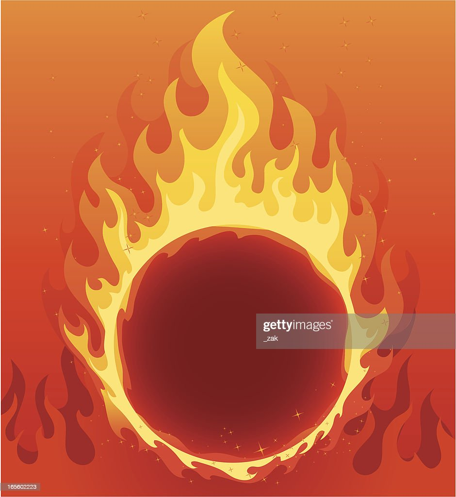 A Flaming Ring Of Fire Background : Vector Art