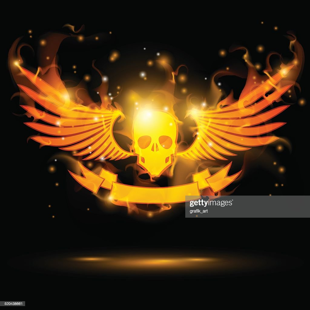 flaming skull with banner and fire wings