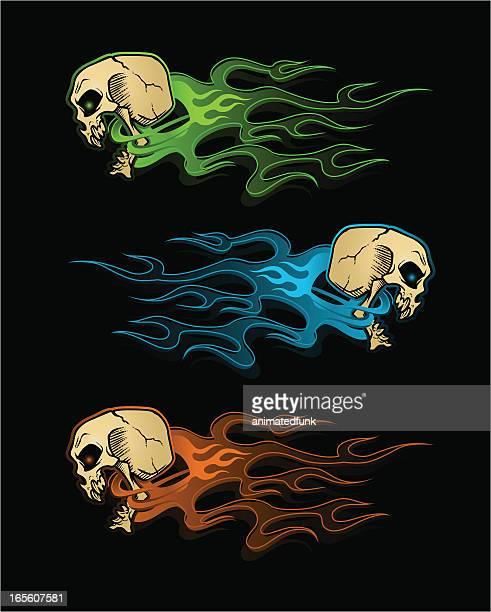 ilustrações, clipart, desenhos animados e ícones de crânios flaming - esportes extremos