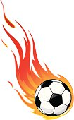 Flaming soccer ball against white background