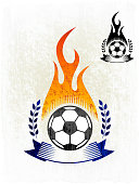 Flaming Soccer Ball on royalty free vector Background