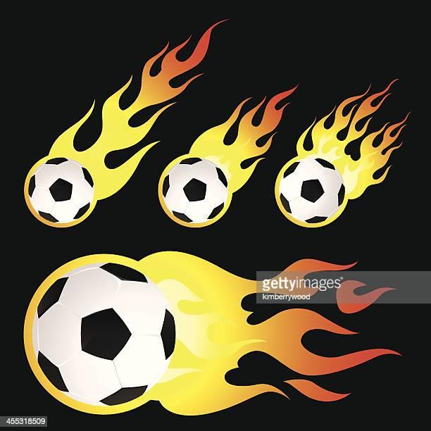 ilustraciones, imágenes clip art, dibujos animados e iconos de stock de flaming pelota de fútbol - lanzar la pelota