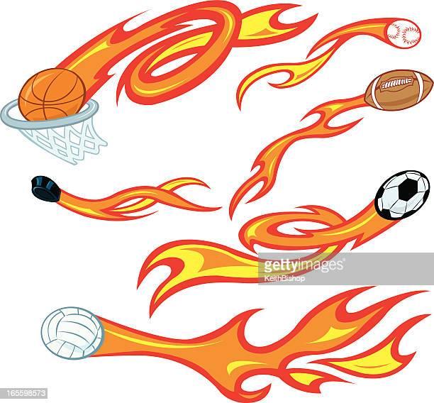 Flaming Sports Balls - Basketball, Baseball, Football, Soccer
