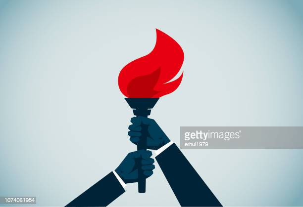 flaming torch - socialism stock illustrations