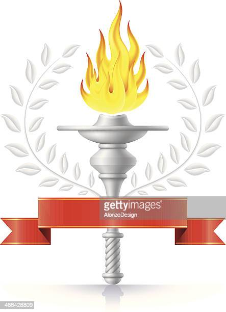 flaming torch - sport torch stock illustrations, clip art, cartoons, & icons