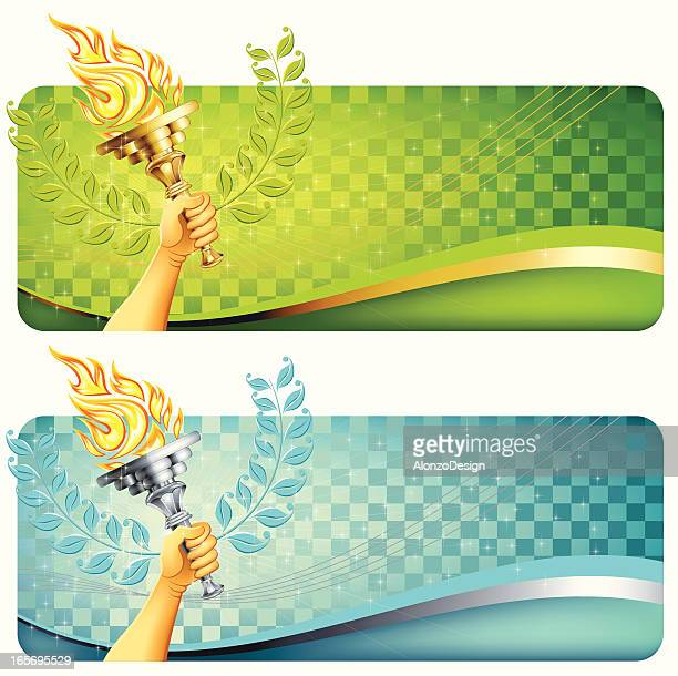 flaming torch with banner - sport torch stock illustrations, clip art, cartoons, & icons