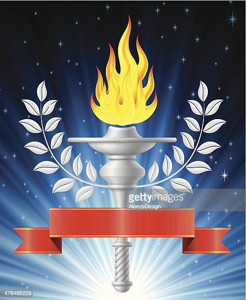 flaming torch with blue light background - sport torch stock illustrations, clip art, cartoons, & icons