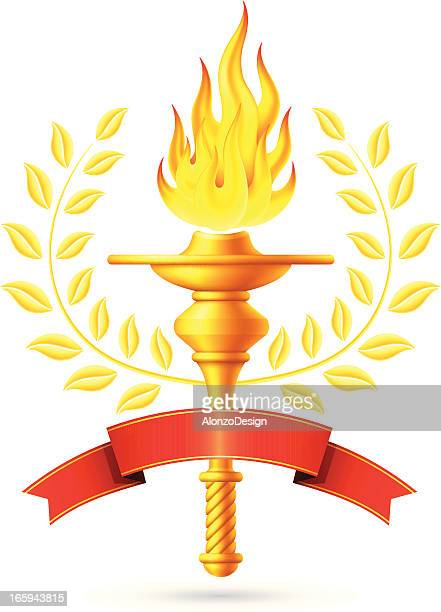 flaming torch with red banner - sport torch stock illustrations, clip art, cartoons, & icons