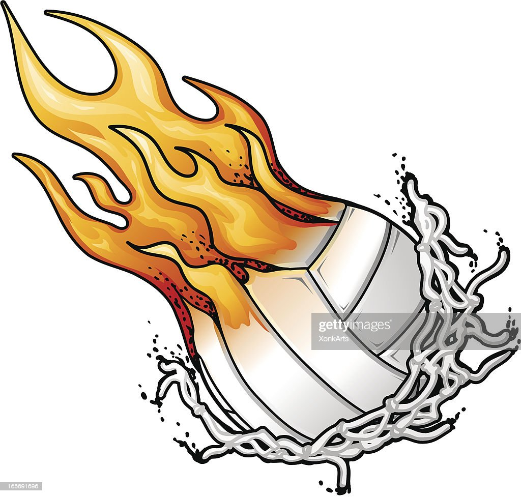 flaming volleyball and net vector art getty images rh gettyimages com