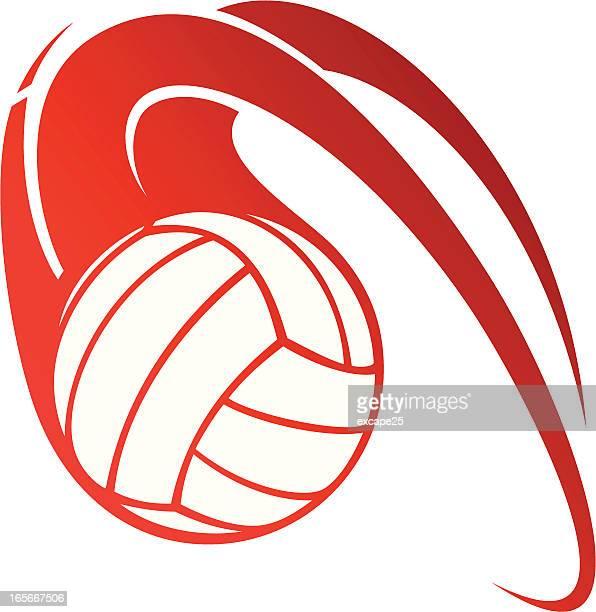 illustrazioni stock, clip art, cartoni animati e icone di tendenza di flaming pallavolo - pallone da pallavolo
