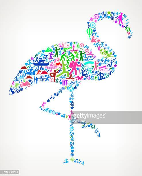 flamingo active lifestyle vector icon pattern - flamingo stock illustrations, clip art, cartoons, & icons