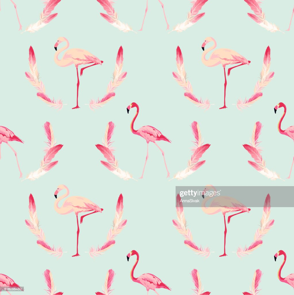 Flamingo Bird Background. Retro Seamless Pattern. Vector Feather Background