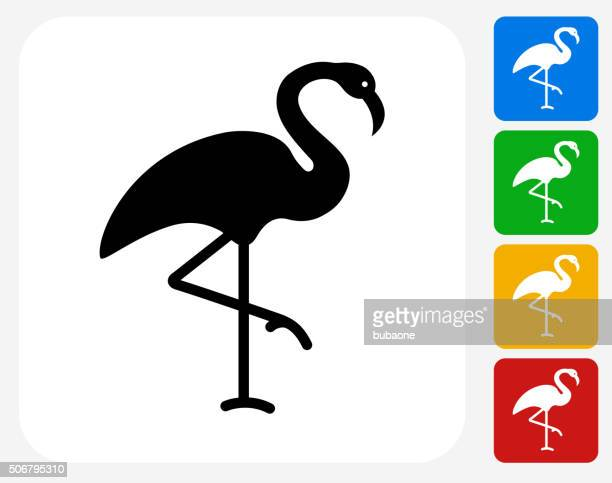 flamingo icon flat graphic design - flamingo stock illustrations, clip art, cartoons, & icons