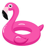 Flamingo inflatable pool float. Vector illustration.