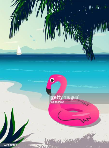 flamingo inflatable ring - flamingo stock illustrations, clip art, cartoons, & icons
