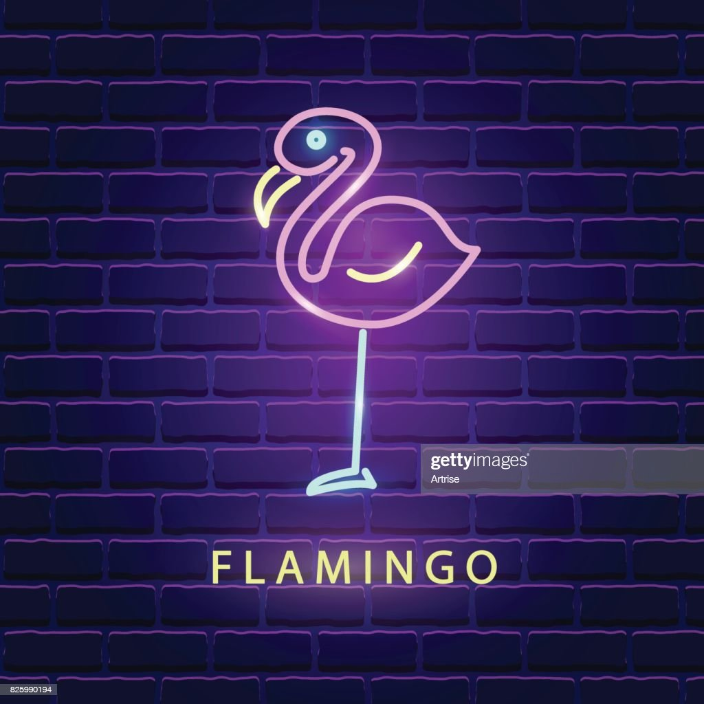 Flamingo neon bright sign