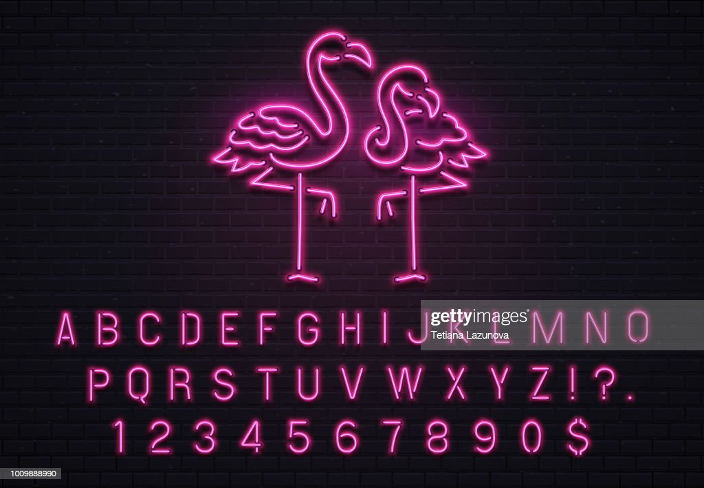Flamingo neon sign. Pink 80s font. Tropical flamingos electric glow bar billboard with purple light bulb letters vector illustration