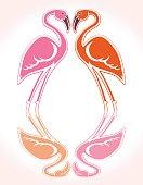 Flamingo romantic card. Vector