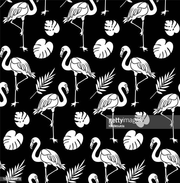 flamingo seamless pattern fashion textile - flamingo stock illustrations, clip art, cartoons, & icons