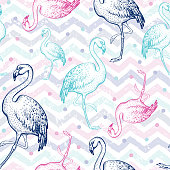 Flamingo seamless pattern, hand drawn doodle texture. Textile print for apparel. Handmade exotic pink bird, grunge stripes. Handdrawn vector illustration isolated on zig zag white background