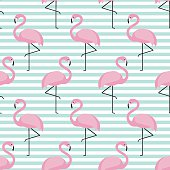 Flamingo seamless pattern on stripped background.