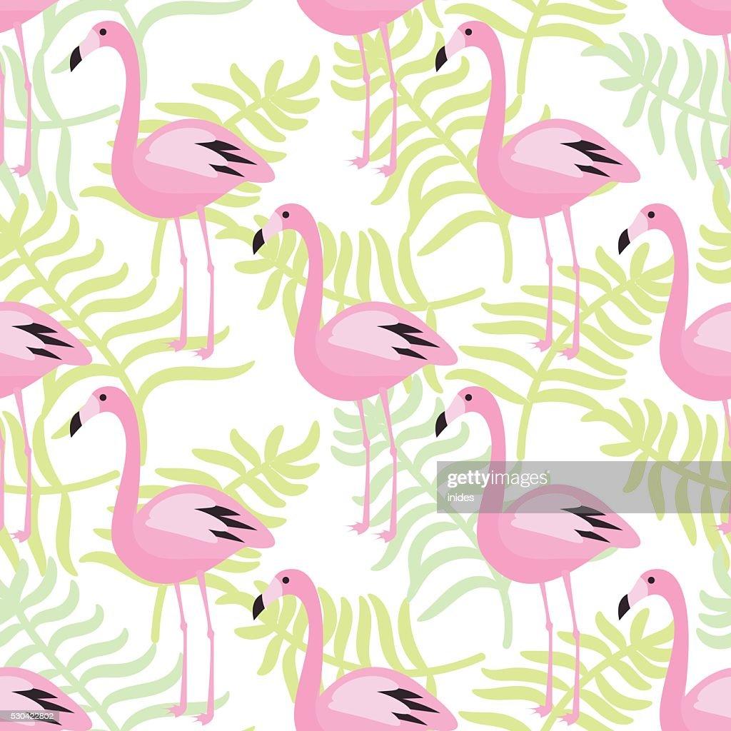 Flamingo seamless pattern. Pink exotic bird background