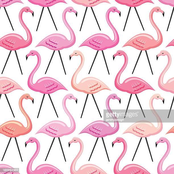 ilustraciones, imágenes clip art, dibujos animados e iconos de stock de flamingo patrón sin costuras - grupo grande de animales