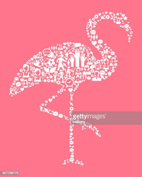 flamingo women's rights and girl power icon pattern - flamingo stock illustrations, clip art, cartoons, & icons