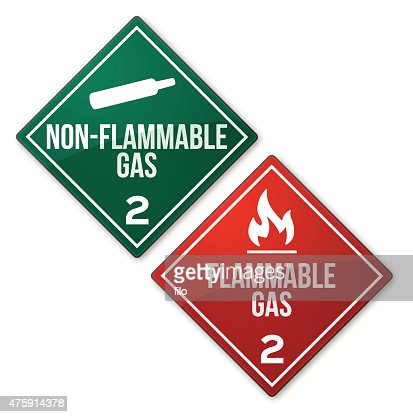 flammable and nonflammable gas warning signs vector art | getty images
