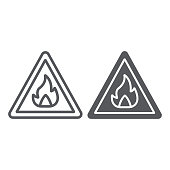 Flammable sign line and glyph icon, warning and attention, fire symbol sign, vector graphics, a linear pattern on a white background.