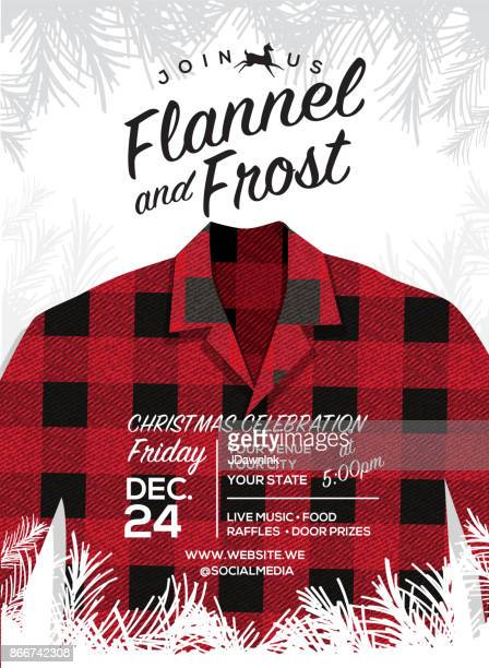 Flannel and Frost Holiday greeting invitation design template with flannel shirt
