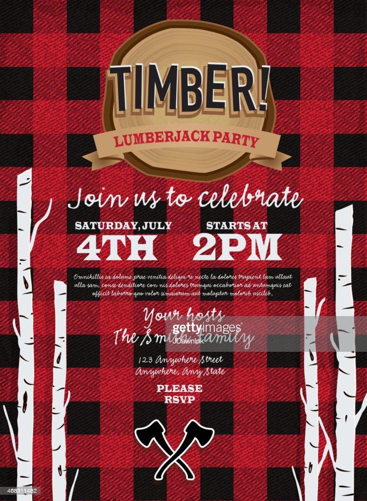 Flannel Red Plaid Lumberjack Party Invitation Design
