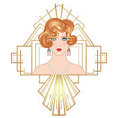 Flapper 20's epoque. Beautiful girl in art deco style.