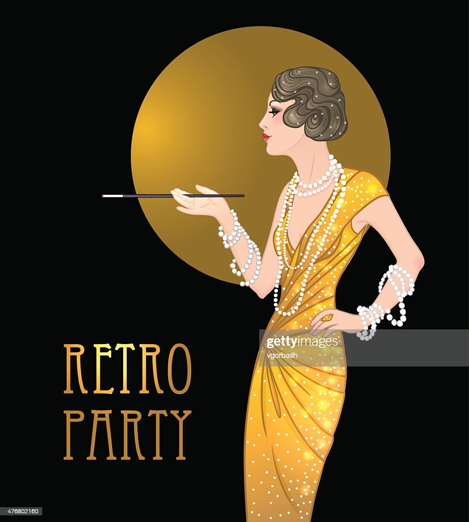 Flapper girl: Retro party invitation design template. Great Gatsby style.