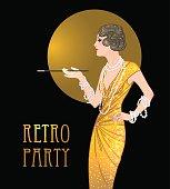 Flapper girl: Retro party invitation design template. Great Gatsby style.