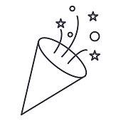 flapper,petard vector line icon, sign, illustration on background, editable strokes