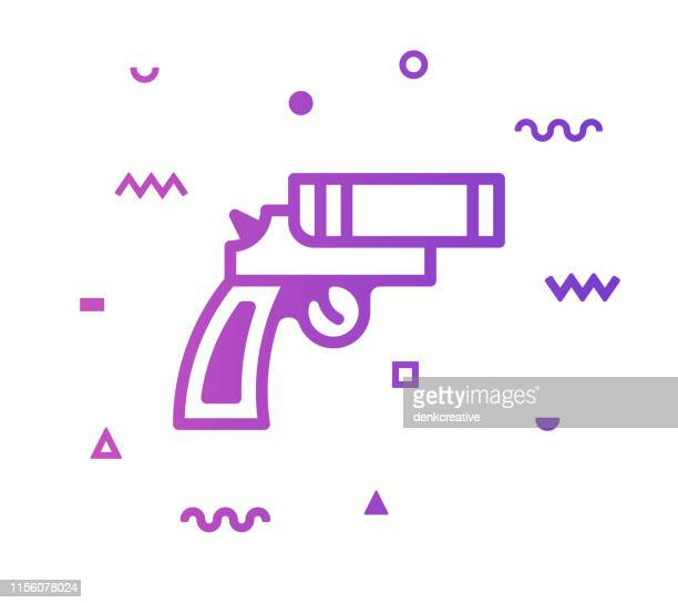 flare gun line style icon design - safety equipment stock illustrations, clip art, cartoons, & icons