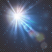 Flash burst of star light with blur and lens flare effect. Shining sun glow. Sparkling light of sun rays on transparent background