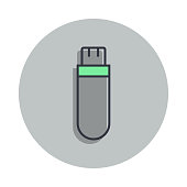 flash card icon in badge style. One of web collection icon can be used for UI, UX