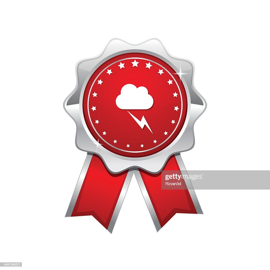 Flash Cloud Red Vector Icon Design