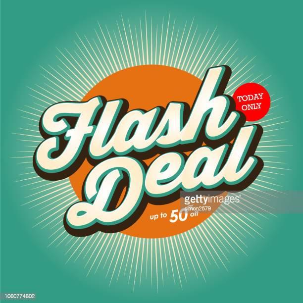ilustrações de stock, clip art, desenhos animados e ícones de flash deal banner design with color starburst background. - dar cartas